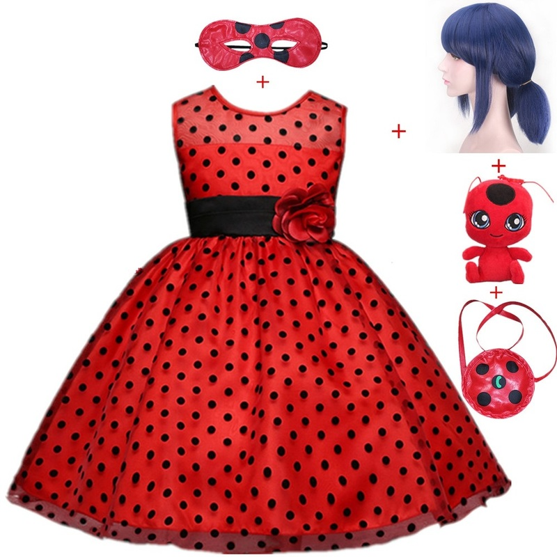Carnival Ladybug cosplay Girls Dress Summer Clothes Lady bug Party Dress Children's day Dot halloween costumes for women/kids