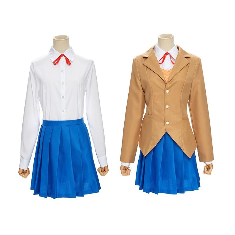 Doki Doki Literature Club Monika Cosplay Sailor Suit Anime Sayori Yuri Natsuki Cosplay Costume JK Girls School Uniform Wigs