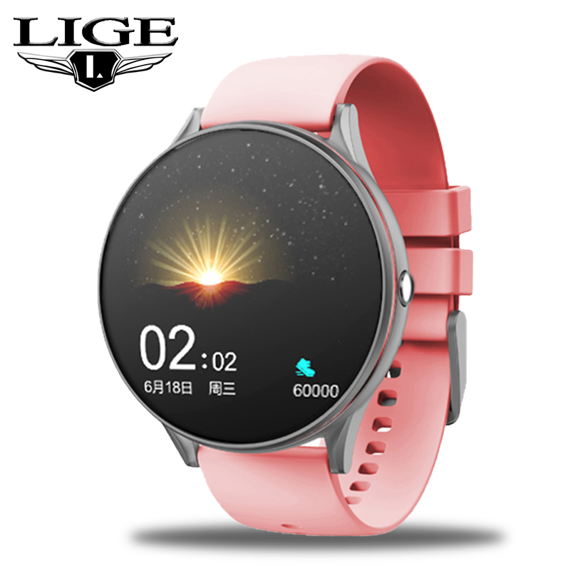 LIGE 2020 New Full Touch Screen Smart Watch Women Multifunctional Sport Heart Rate Blood Pressure IP67 Waterproof Smartwatch+Box