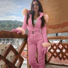 Женский модный цельный лыжный комбинезон, повседневный толстый зимний теплый лыжный костюм для сноуборда, уличные спортивные лыжные штаны, комплекты на молнии, лыжный костюм