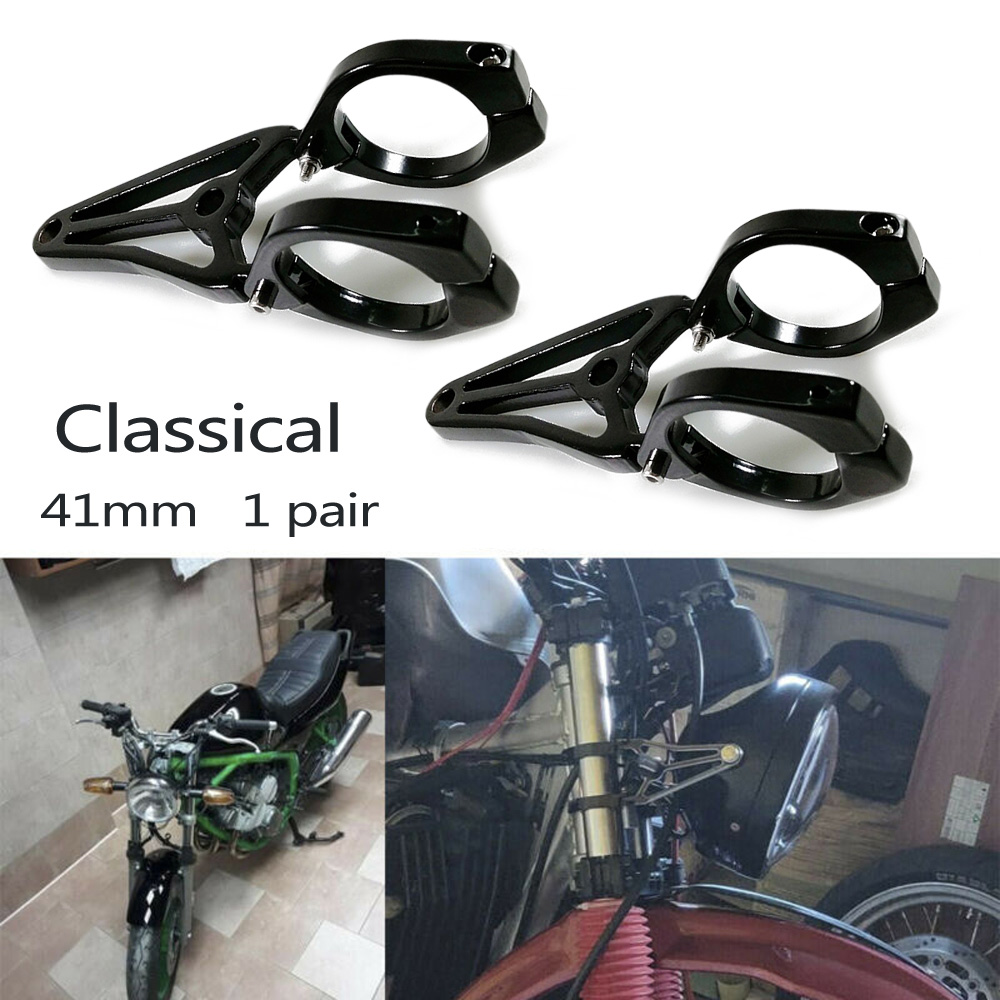 1 Pair Of Motorcycle Headlight Mount Brackets Universal Motorcycle With 41mm Front Fork Black Motorcycle Headlights Protector