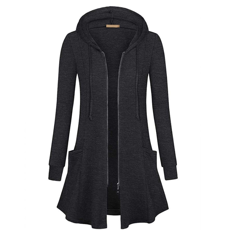 Hot Winter New In Europe And America Lady Zipper Long Hood Waist Sweatshirt Leisure Coat Top Femme Jackets Blazer Suits
