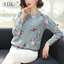 YISU Gedruckt pullover Frauen 2019 Herbst Winter Pullover Fashion Floral vogel muster Pullover Beiläufige Lose lange Ärmel pullover