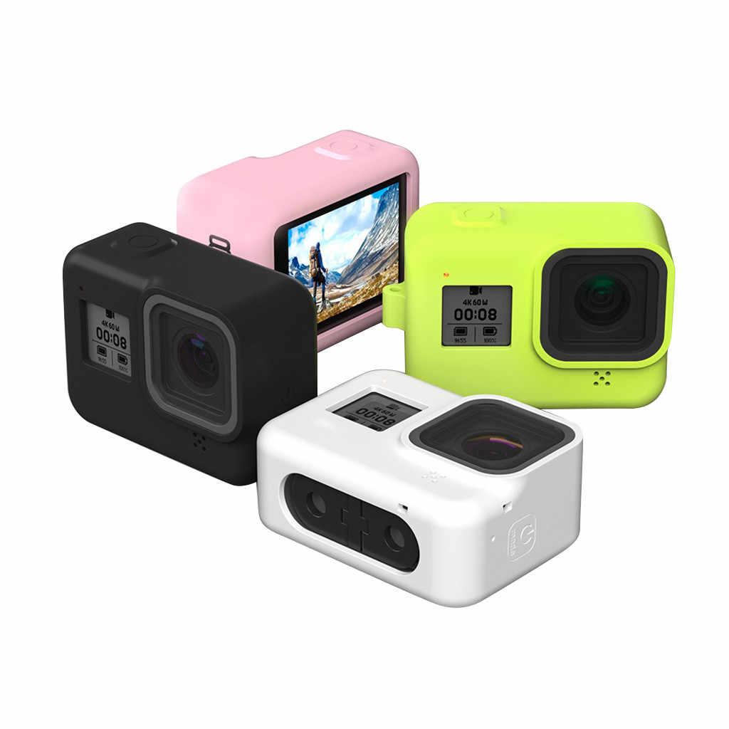 قضية واقية ل الذهاب برو اكسسوارات عمل كاميرا حافظة واقية غطاء من السيليكون غطاء الجلد ل GoPro بطل 8 الأسود بطل الكاميرا