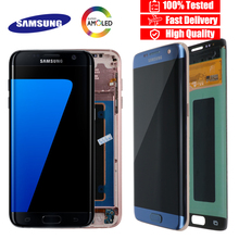 ORIGINAL 5.5 จอแสดงผล BURN SHADOW LCD ที่มีกรอบสำหรับ SAMSUNG Galaxy S7 EDGE G935 G935F TOUCH หน้าจอ Digitizer ASSEMBLY