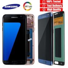 Orijinal 5.5 ekran ile yanık gölge LCD için çerçeve ile SAMSUNG Galaxy S7 kenar G935 G935F dokunmatik ekranlı sayısallaştırıcı grup
