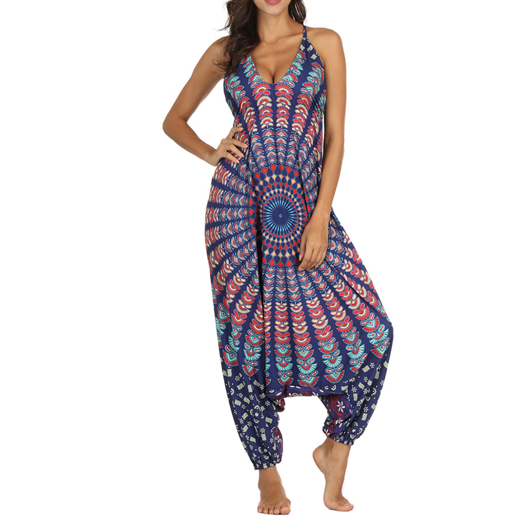 Women V-Neck Jumpsuit Loose Playsuit Gym Yoga Gypsy Jogging Harem Pants Baggy Palazzo Trousers