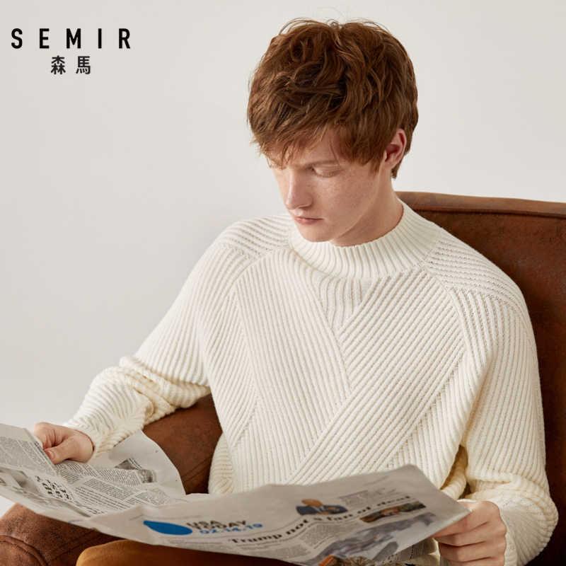 SEMIR Nửa cổ áo len nam trắng áo len Giày lười phong cách mùa đông 2019 người đàn ông mới Hàn Quốc làm dày Top Áo Len Dệt Kim Nam