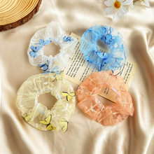 Sweet embroidered flower hair band European root yarn large intestine ring hair rope ins mesh yarn head rope girl hair accessori(China)