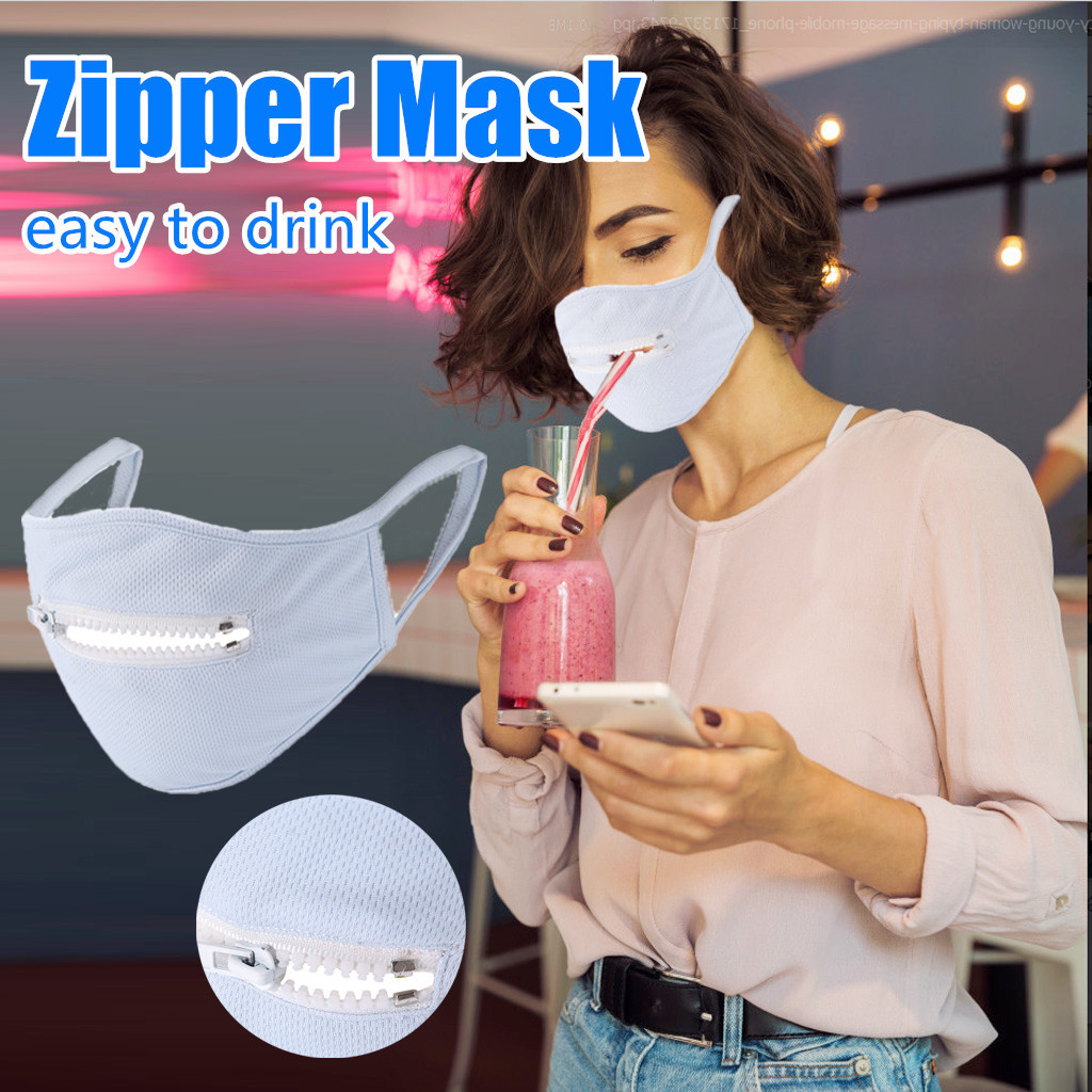 Washable Protective Mask Men & Women  Reusable Zipper Mask Easy To Drink Mask Respirator Breathable Mascarillas Masque