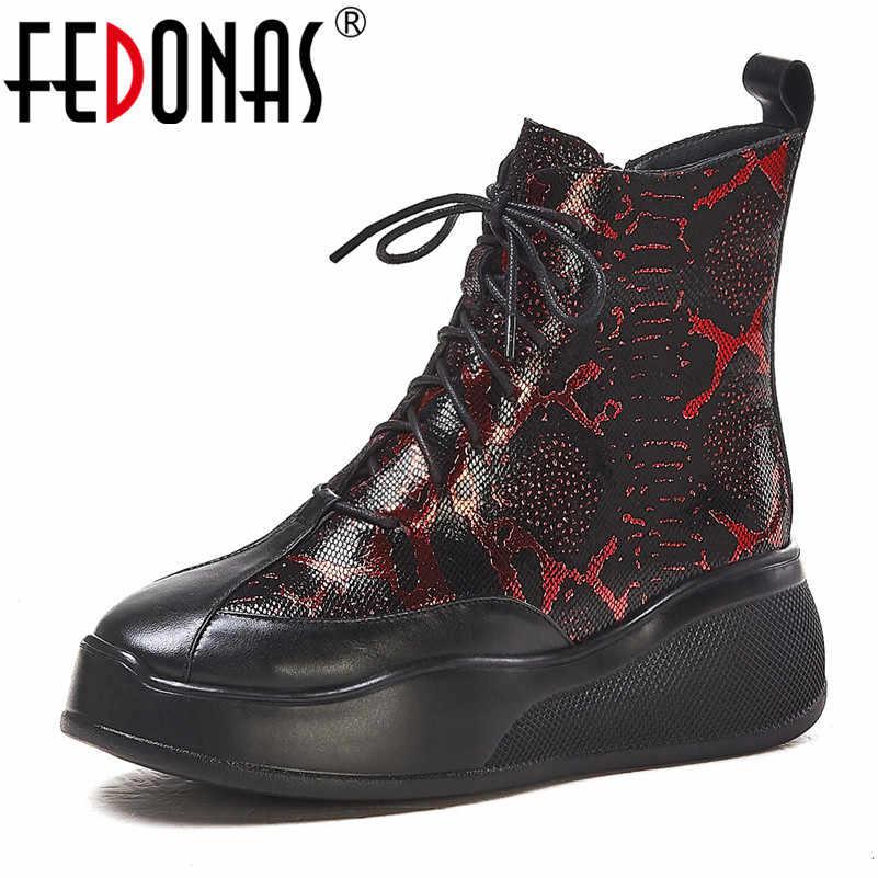 FEDONAS אופנוע מגפי חם סתיו חורף נשים אמיתי עור קרסול מגפי אופנה גבוהה עקבים לילה מועדון פלטפורמת נעלי אישה