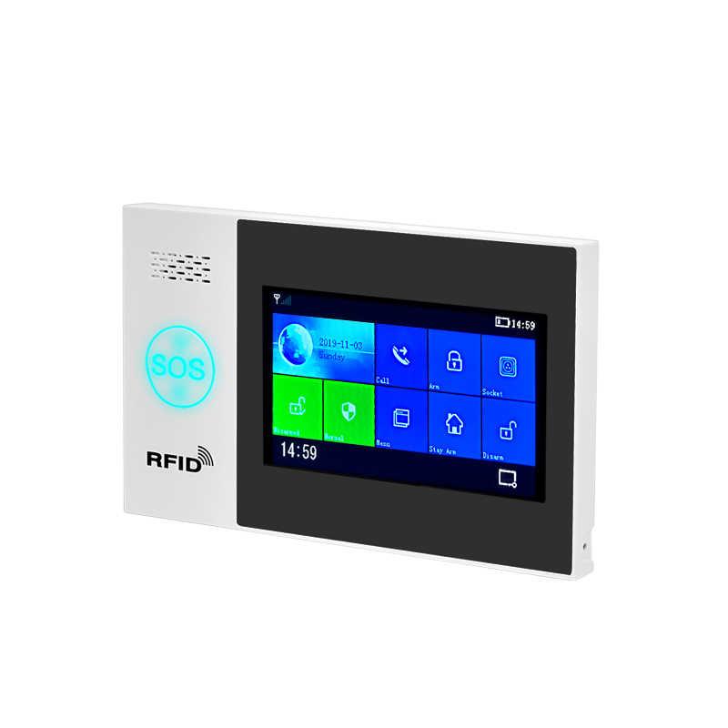 W4B 4.3 inç TFT ekran WIFI GSM ev hırsız güvenlik alarmı sistemi tel hareket dedektörü APP kontrol yangın duman dedektörü alarmı