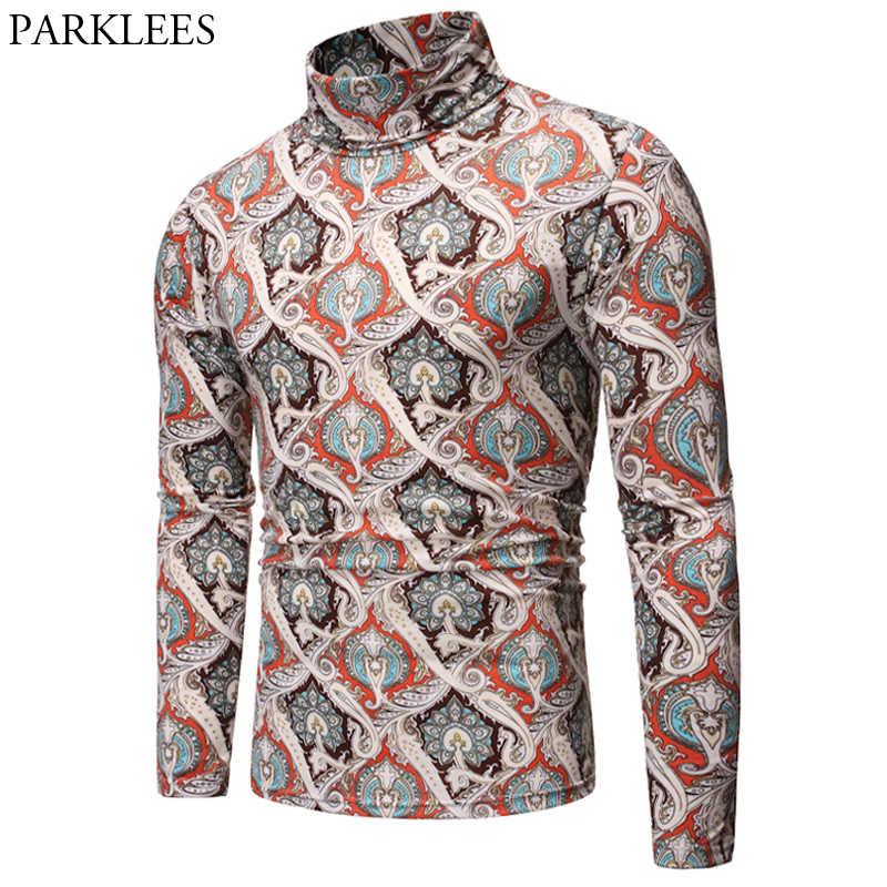 Camiseta informal para hombre, Camiseta barroca, Camiseta para hombre, cuello alto, estilo Palacio, ropa para hombre, camisetas de manga larga estilo gótico 2019 Vintage para hombre