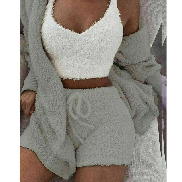 New Fashion Fluffy Hooded Long Sleeves Coat Open Front Teddy Shorts Vest Set for Women Winter J9 3