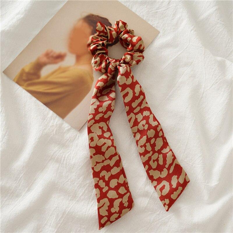 Элегантные резинки для волос с большим цветком и леопардовым принтом; эластичные резинки для волос для женщин и девочек; завязанные длинные резинки; шарф; аксессуары для волос - Цвет: A17