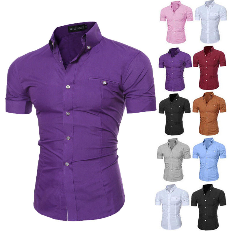Brand Men Shirts Short Sleeve Casual Slim Fitness Shirts Male Business Top Shirt Modis Solid Men Shirts Plus Size