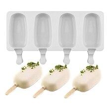 Форма для приготовления кубиков льда, 4 полостей, силиконовая форма для морозилки, форма для мороженого, инструмент для изготовления конфет, форма для сока, Фруктового мороженого, детский поп-лоток для мороженого на палочке