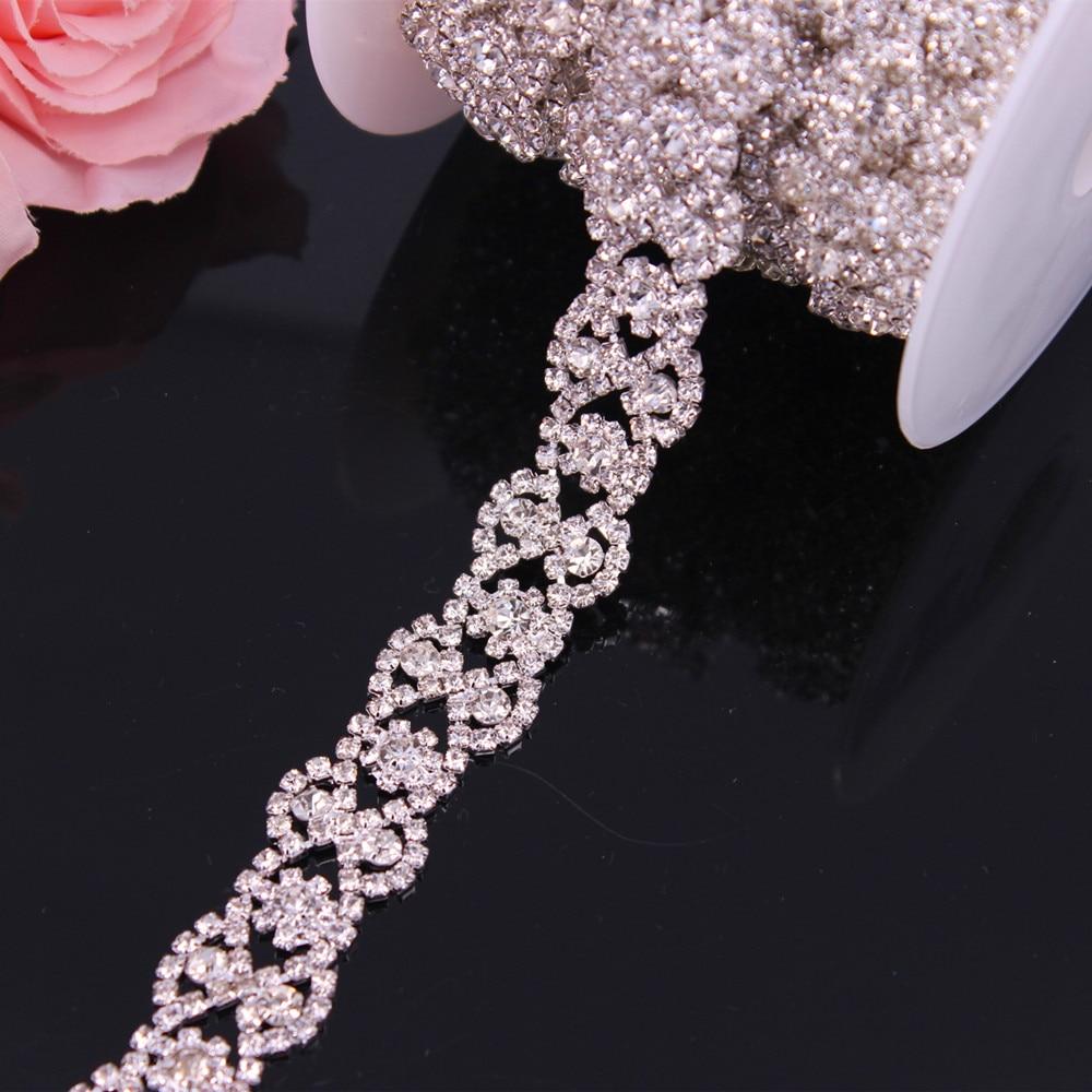 Rhinestone Trim Sew on Garments DIY Clothes Silver Crystal Wedding Dress Belt Bridal Chain Trim