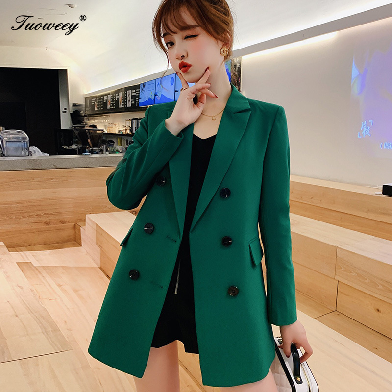 Women Blazer Jackets Suits Outwear Coat Spring Female Autumn Double-Breasted Casual Fashion