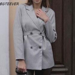 Винтажный двубортный Женский блейзер, элегантный женский пиджак, Осенний клетчатый Блейзер, Женский офисный пиджак с длинным рукавом, верх...