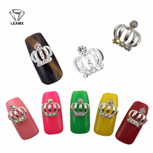 LEAMX 10PCS/bag 3D Crown Nails Art Decorations Silver Metal Charms Shining Rhinestone Nail Jewelry Accessory Manicure L527