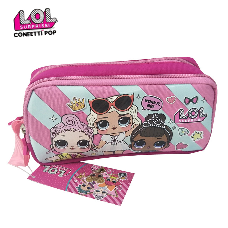 LOL Original Surprise Dolls Pencil Case Double-layer Cute Cartoon Bag Lol Original Doll Child Student School Supplies Kid Gift