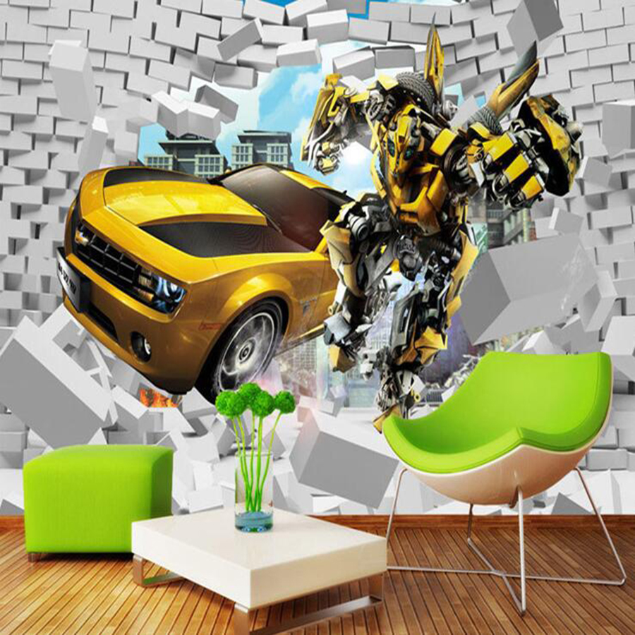 Milofi Custom 3D Wallpaper Mural Children's Room Cartoon 3D Bumblebee Car Brick Wall Background Wall Decoration Wallpaper Wall
