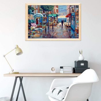 Jigsaw Puzzles 1000 Pieces for Adult Kids Romantic Town Wall Painting Game Puzzles Wooden Assembling Puzzles Educational Toys паззл vintage puzzles