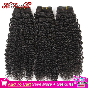 Image 1 - ALI ANNABELLE HAIR Brazilian Kinky Curly Hair 100% Human Hair Weave Bundles 1/3/4 Pieces Natural Color Remy Curly Hair Bundles