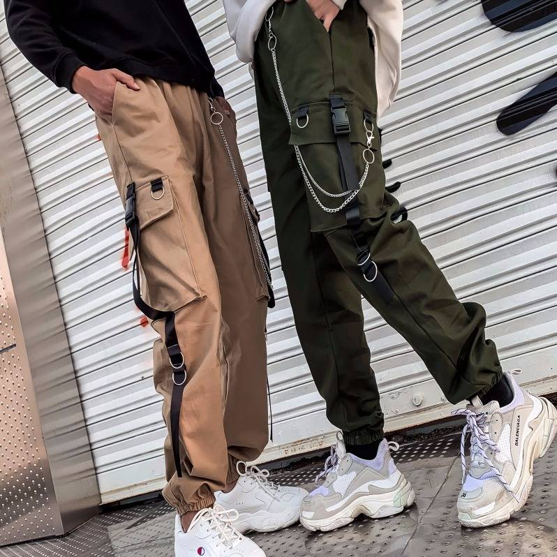 Cool Autumn Winter Women Streetwear Retro Black Harajuku Punk Pants Trousers Casual High Waist Straight Pants Streetwear Females