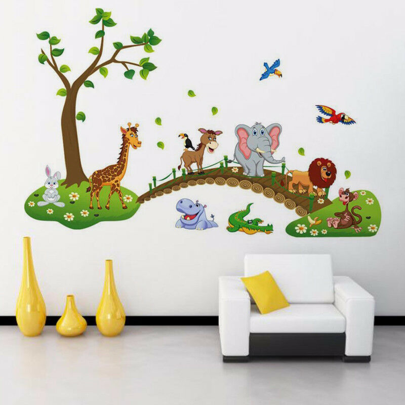 DIY 3D Vintage Wallpaper Vinyl Wall Stickers For Kids Rooms Child Wall Art Decals Home Decoration Cartoon Jungle Wild Animals