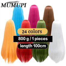 Cosplay perruque longue Lolita anime bleu rose jaune blond Puple azur rouge noir orange blanc rouge cos cheveux 100cm 39 pouces MUMUPI(China)