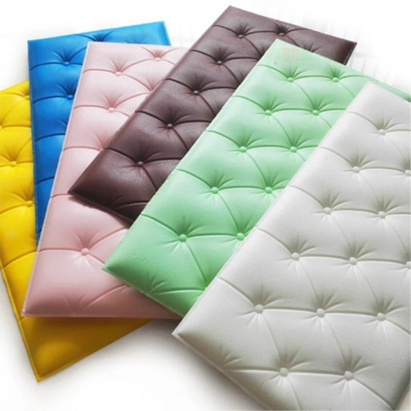 Soft Cushion Tatami Wallpaper 3D Self-adhesive Wall Sticker Thicken Tatami Anti-collision Mat Children\'s Bedroom Bed