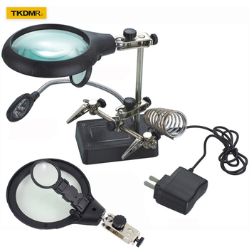 цена на Welding Magnifying Glass with LED Light 2.5X-7.5X-10x lens Auxiliary Clip Loupe Desktop Magnifier Third Hand Soldering Repair