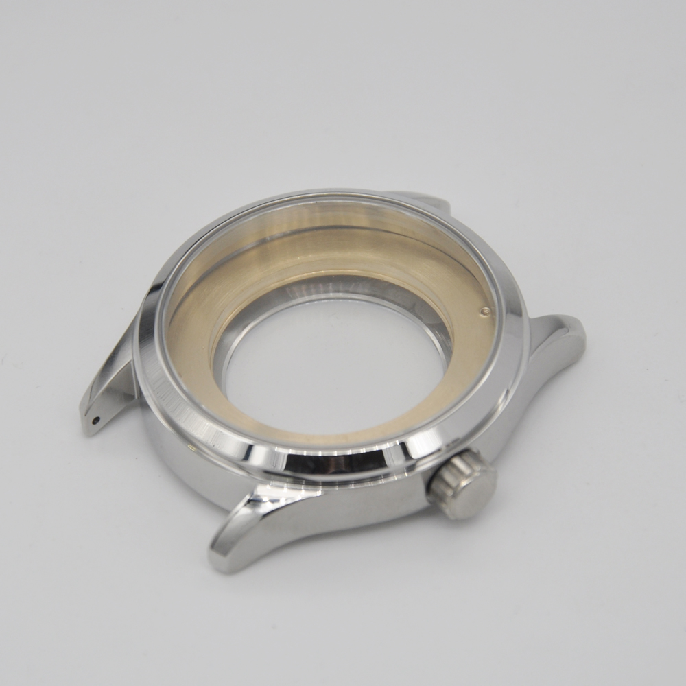 <font><b>Watch</b></font> part <font><b>42mm</b></font> sapphire glass polished 316L Stainless Steel <font><b>watch</b></font> <font><b>case</b></font> fit ETA 2836 2824 MIYOTA 8215 821A movement image