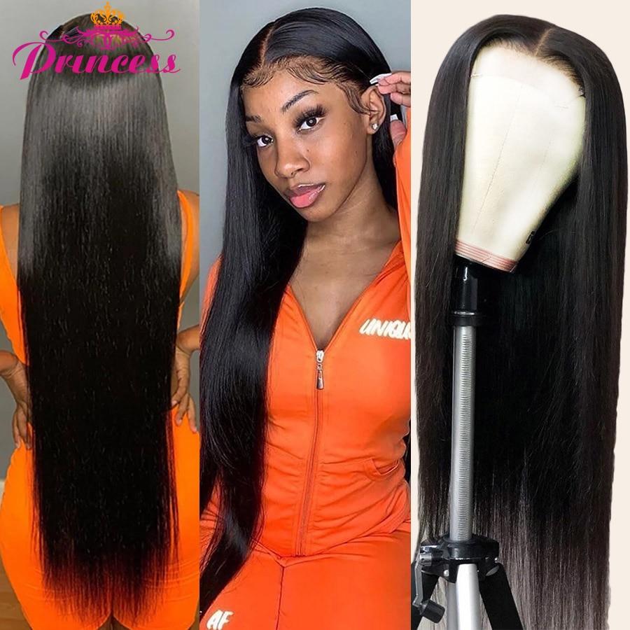 4x4 Closure Human-Hair-Wigs Lace-Frontal 8-34inch Preplucked Straight Princess Brazilian