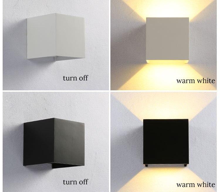 Quadrado moderno lâmpadas de parede led impermeável