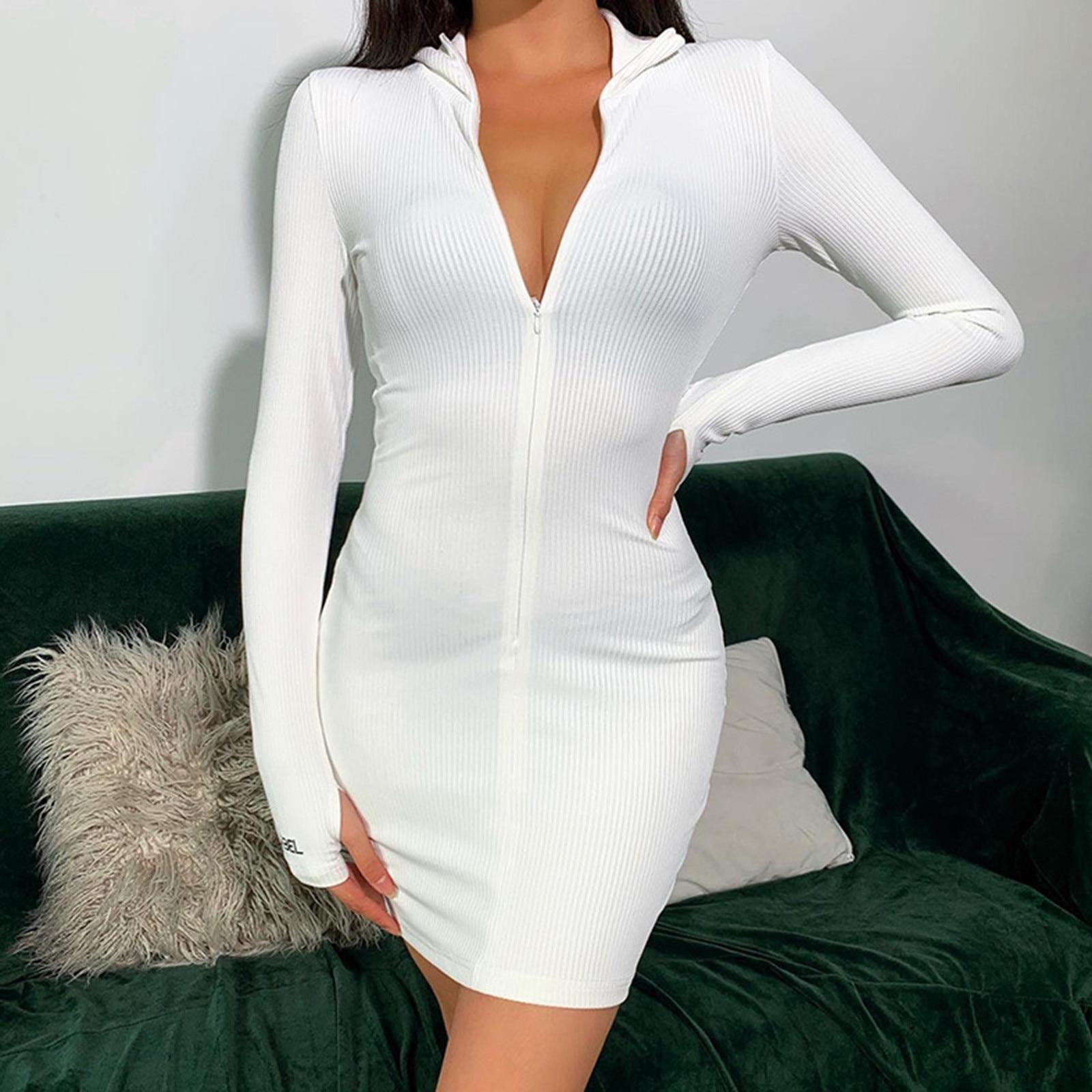 Sexy Frauen Bodycon Kleid Full Zip Up Weiß Verband Kleid Langarm Sommer Kleidung Sommerkleider Für Frauen