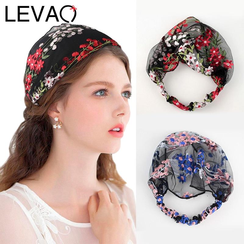 Обруч для волос LEVAO с цветочной вышивкой, эластичный ободок, аксессуары для волос для девушек и женщин