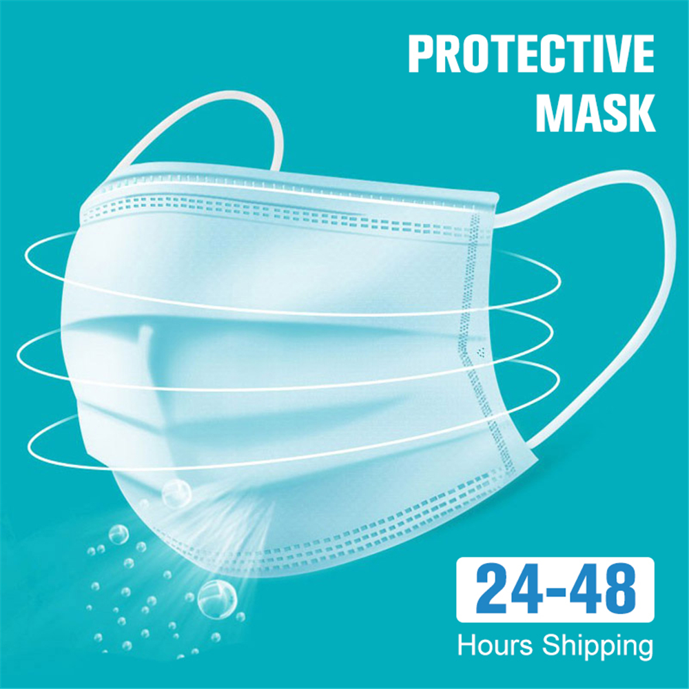 50pcs Face Mouth Protective Mask Disposable Protect Dustproof Earloop 3 Layers Filter Non Woven Mouth Masks 48 Hours Shipping