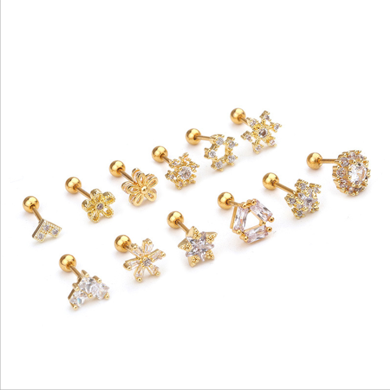 1pc Gold Silver Color Cz Cartilage Moon Star Flower Crown Helix Piercing Jewelry Tragus Rook Conch Crystal Zircon Stud Earrings