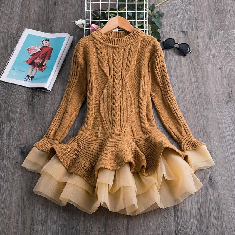 H2d618b69f78d478faa97325b27a9da8bm Xmas Winter Autumn Girl Dress Children Clothes Kids Dresses For Girls Party Dress Long Sleeve Knitted Sweater Toddler Girl Dress