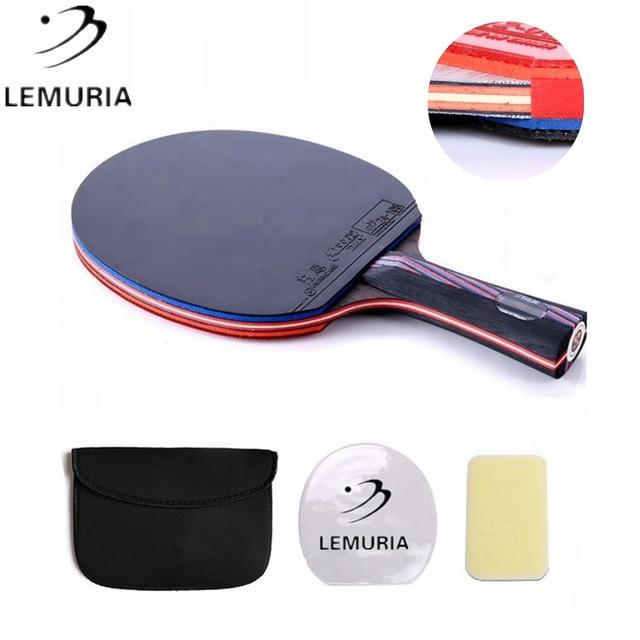 مضرب تنس الطاولة Lemuria DIY WRB 7.6 من ألياف الكربون ببثور وجه مزدوج في طاولة تنس مطاطي FL أو CS مقبض بينج بونغ الخفافيش