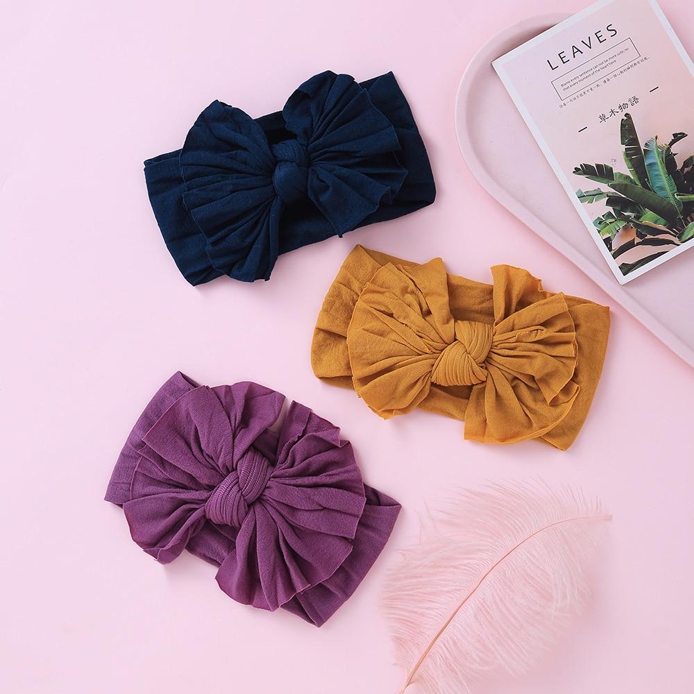 Широкие нейлоновые повязки на голову ручной работы для новорожденных детей, большая завязанная повязка на голову с бантом для волос, Детски...