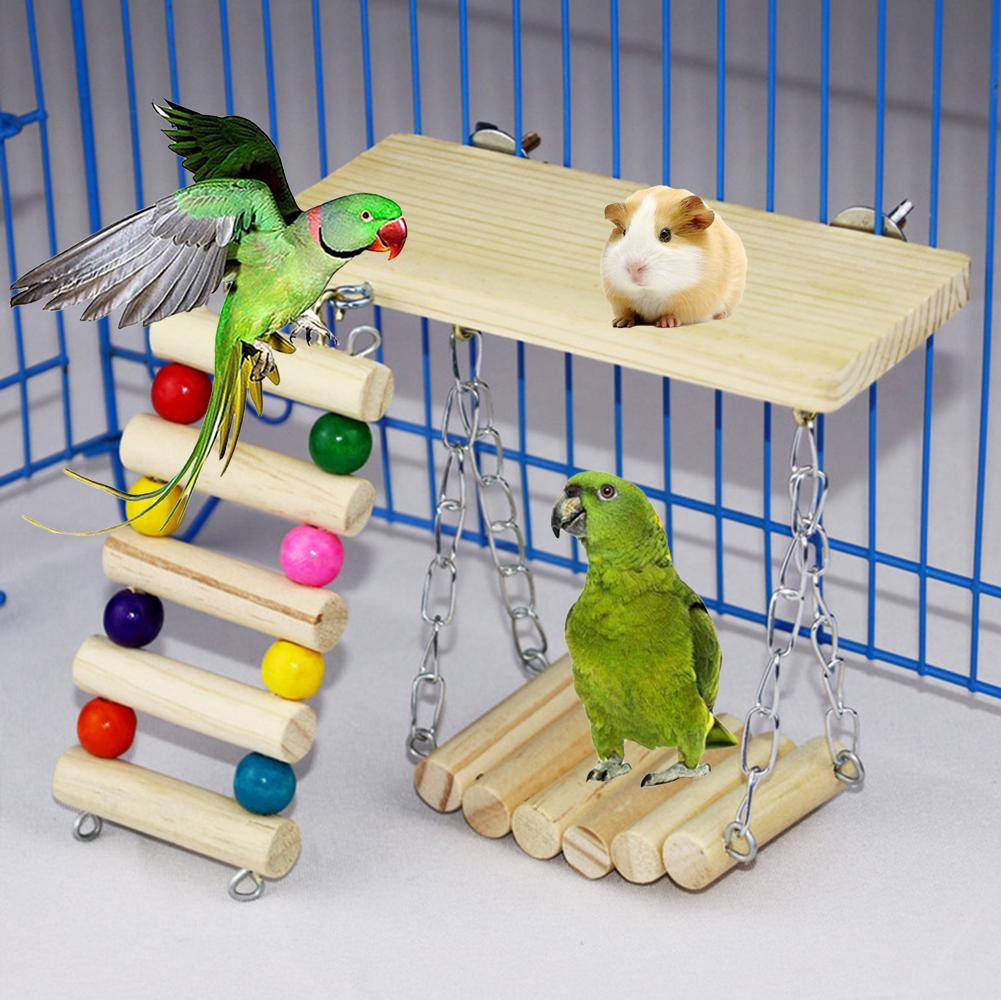 3Pcs Pet Hamster Rabbit Wooden Beads Hanging Swing Ladder Plate Cage Chew Toy