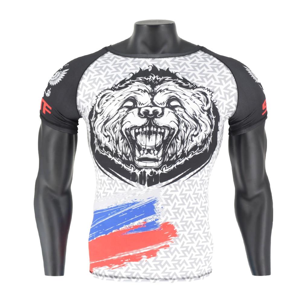 Flight Tracker Sotf Mma White Tiger Printing Breathable Mma Shirt Boxing Jerseys Muay Thai Kickboxing T Shirt Rashguard Men Compression Cheap For Improving Blood Circulation