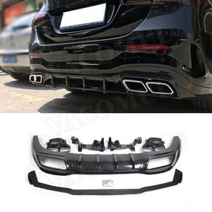 PP Черный задний диффузор выхлопные наконечники для Mercedes Benz A Class W177 A180 A200 A250 A35 2019 2020 задний бампер Защита для губ