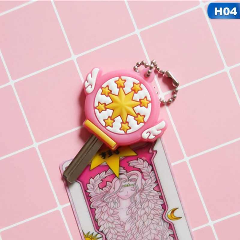 Giapponese Anime Kinomoto Card Captor Sakura Chiave Della Copertura Del Fumetto di Kawaii Portachiavi Chiave Del Silicone Cap Coperture Cosplay Portachiavi In Gomma Pug