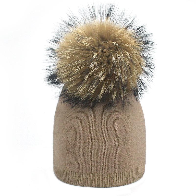 Детская шапка, вязаная цветная шапка с помпоном, Шапка-бини с меховым помпоном, зимняя шапка для мальчиков и девочек, теплая мягкая шапка Skullies Bone для детей - Цвет: E