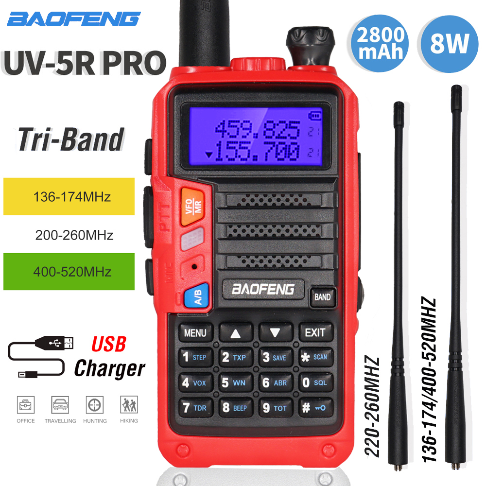 NEW BaoFeng Tri-Band UV-5R Pro Walkie Talkie 8W High Power  Portable Two Way Radio HF FM Transceiver UV 5R Upgrade CB Ham Radio